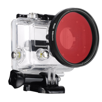 Harga Gopro Accessories 58mm Threaded Red Lens Filter with Adapter for GoPro Hero 3+/ Hero4