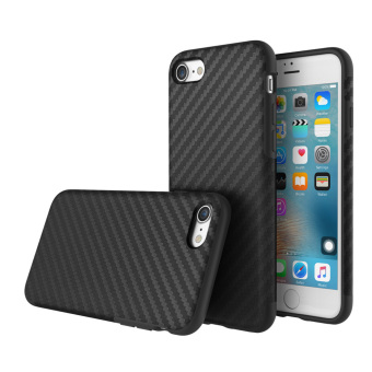 Harga ROCK Carbon Fiber Grain TPU Phone Case 360 Degree Full Protect Phone Cover Protective Shell High Quality Soft Case for iPhone 7 4.7inch Black - intl