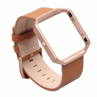 Fitbit Blaze Luxury Classic Genuine Leather Watchband Bracelet Strap with Frame for Fitbit Blaze (Brown) Price Philippines