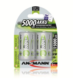 Harga Ansmann NiMH-LSD D 5000mAh x2 Blister Pack Rechargeable Battery