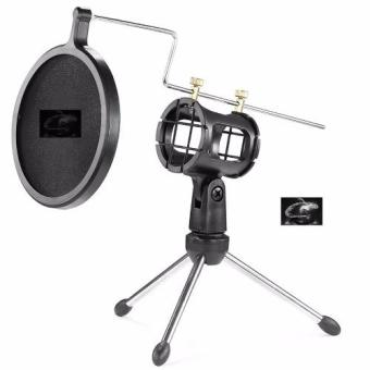 Harga Auxis Microphone Tripod Stand with Shock Mount Mic Holder and Pop Filter