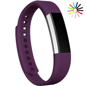 Harga Silicone Secure Material Wrist Band Replacement Watch Band Strap for Fitbit Alta Size L (Purple) - Intl