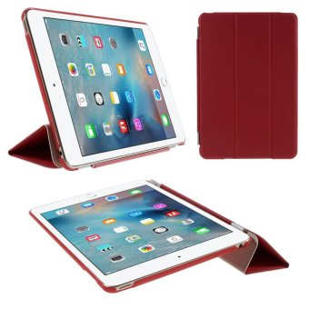 Harga For iPad mini 4 Tri-fold Smart Leather Cover + Companion PC Shell - Red - intl