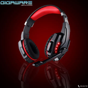 Harga Gigaware Kotion G9000 Gaming LED Headset 3.5mm USB Port (Black/Red)
