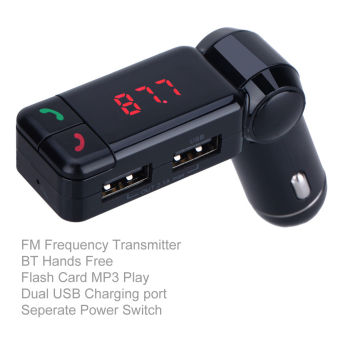 Harga HUG BC06 Bluetooth Car FM Transmitter Car Charger with 2 USB 3.0 Outputs