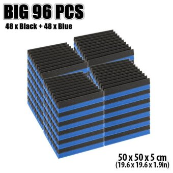 New 96 pcs Black and Blue Wedge Tile Acoustic Foam Sound Absorption Treatment 50 x 50 x 5 cm KK1134 - intl Price Philippines