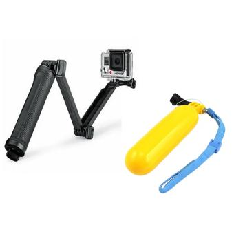 Harga 6cm Super Multi-function 3-way Mount Monopod Tripod Grip for GoPro Hero4 /Hero3 + /3 /SJ 5000/4000 With GP81 Floater and Bobber for GoPro Hero SJCAM (Yellow)