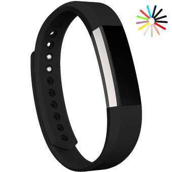 Harga Silicone Secure Material Wrist Band Replacement Watch Band Strap for Fitbit Alta Size L (Black) - Intl