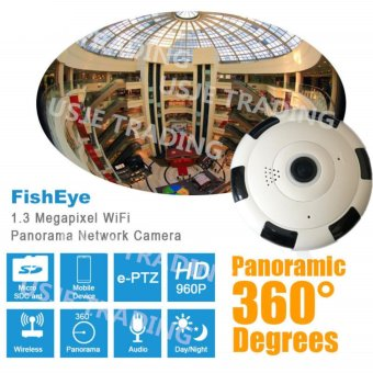 IP WiFi Camera 360 degree Fisheye Lens Panoramic Smart Camera HomeSecurity CCTV Cam HD IP Camera 960P Whole View Angle 1.3MP(White&Black)