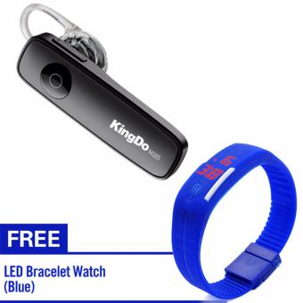 KingDo M165 Mini Bluetooth Headphone In-ear WirelessEarphone(Black) with Free LED Watch