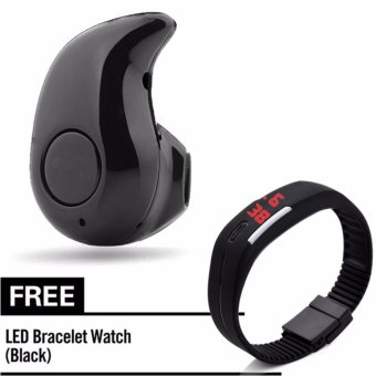 KingDo S530 Bluetooth4.0 In-ear Earphone Headphone with Free L6 LED Watch Black