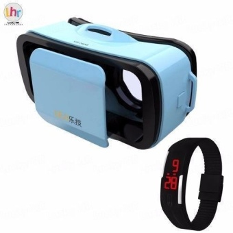 LEJI VR Box VR Mini Immersive 3D VR Virtual Reality Glasses for Smartphones (Blue) with Sport LED Watch (Color May Vary) Price Philippines