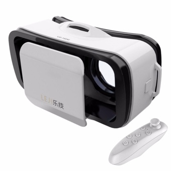 LEJI VR Box VR Mini Immersive 3D VR Virtual Reality Glasses for Smartphones (White) with Remote