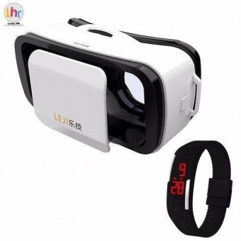 LEJI VR Box VR Mini Immersive 3D VR Virtual Reality Glasses for Smartphones (White) with Sport LED Watch (Color May Vary) Price Philippines