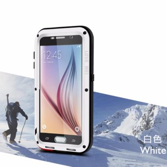 Love Mei Life Waterproof Powerful Case Waterproof Shockproof Aluminum Metal Cover for Samsung Galaxy S6 Shockproof Phone Cases for S6 (White) - intl