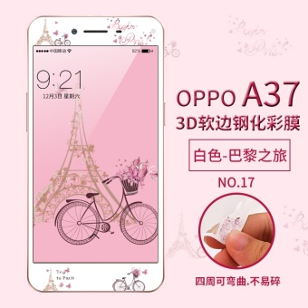 Lovely 3D Painting Front Full Case Cover Color Tempered Glass CaseFor Screen Protector Film For OPPO A37 - intl