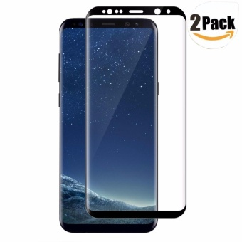 LUOWAN Galaxy S8 Tempered Glass Screen Protector,[2 pack]3D FullCoverage Screen Protector for Samsung Galaxy S8 (Black) - intl