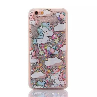 Luxury Bling Unicorn Rainbow Dynamic Quicksand Glitter Phone Case Cover for iPhone 6/6S -Multicolor - intl
