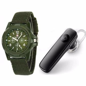 M165 Bluetooth V4.0 Stereo Smartphone Headset for iphone Android(Black) with GEMIUS ARMY Military Sport Style Army Men's GreenCanvas Strap Watch