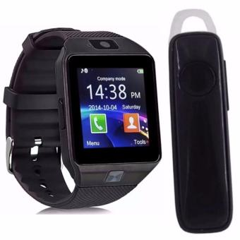 M99 Quad Phone Bluetooth Touch Screen Smart Watch (Black) with M165Bluetooth V4.1 Stereo Smartphone High-Quality Headset (Black)