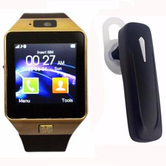M99 Quad Phone Bluetooth Touch Screen Smart Watch (Black/Gold)withMultimedia S163 Bluetooth Stereo Smartphone Headset (Black)