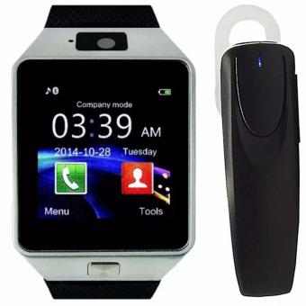 M99 Quad Phone Bluetooth Touch Screen Smart Watch (Black/Silver)with M169 Bluetooth Stereo Headset (Black)