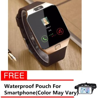 M99 Quad Phone Bluetooth Touch Screen Smart Watch (Gold) with freeWaterproof Sports Pouch Belt for Smartphone (Color May Vary) Price Philippines