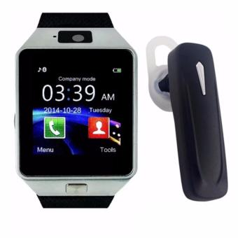 M99 Quad Phone Bluetooth Touch Screen Smart Watch(Black/Silver)with Multimedia S163 Bluetooth Stereo SmartphoneHeadset (Black)