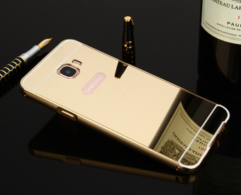Metal Frame Bumper Case Mirror Effect PC Back Cover For SamsungGalaxy C7 (Golden) - intl