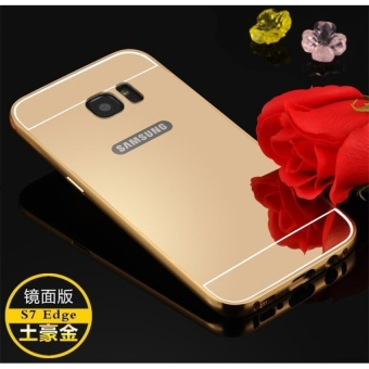 ... Metal Frame Mirror Back Cover Case For Samsung Galaxy S6 Edge Gold