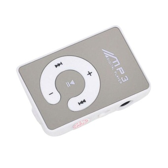 Mirror Clip USB Digital Mp3 Music Player Support 1-8GB SD TF Card WH - intl
