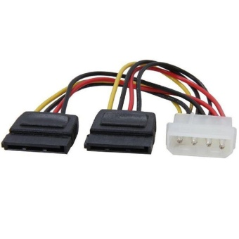 Molex to SATA Power Y Splitter Adaptor Cable Lead 2 Way 4 Pin To 2x 15 Pin - intl