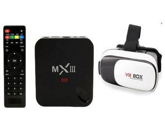 MXIII WiFi Amlogic S802 Quad Core XBMC Cortex A9 TV Box (Black)With VR Box VR02 Virtual Reality Glasses Price Philippines