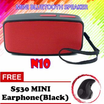 N10 Extreme Bluetooth FM Speaker (Red) With Free S530 MiniBluetooth Earphone (Black)
