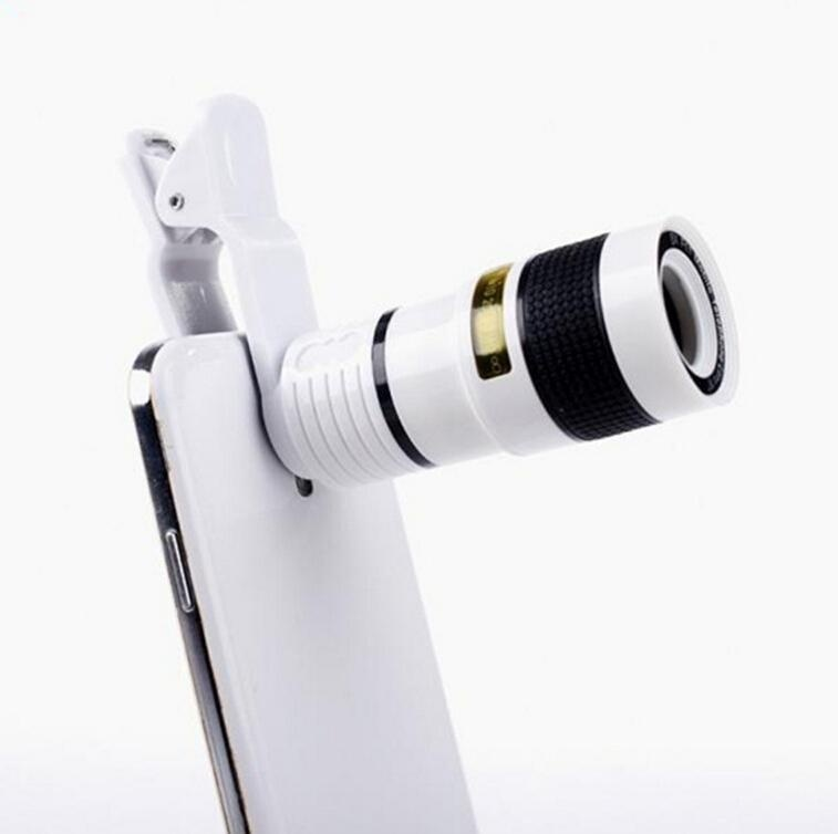 New Design Practical 8X Zoom Optical Clip Mobile Phone Telescope Camera Lens for Cellphone Smartphone Notebook (White) - intl