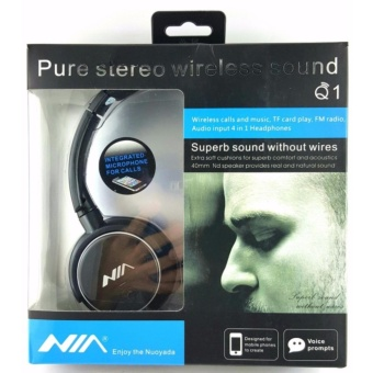 Nia Q1 Headset Bluetooth Headsets with Micro SD and AUX Slot/FMRadio/Call Function with free Micro USB OTG USB Connector For YourSmart Phone/Pad (color may vary)