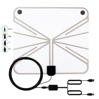 Onlik 1080P Digital Hdtv Antenna-50 Miles Digital Long Range Tv HdAntenna With Amplifier Usb Power Supply To Boost Signal And 20FootCoaxial Cable- Shiny Antenna Ultra Thin-Super Soft & Light