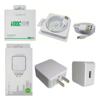 OPPO AK717 Power Adapter Charger + OPPO VOOC Fast Charging MicroUSB Cable 1.0m (White)