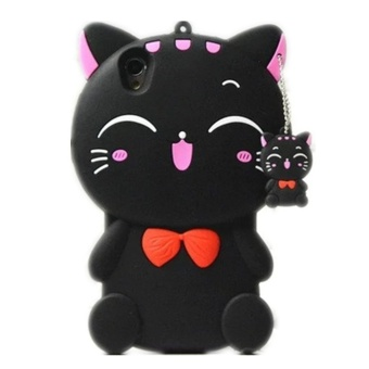 OPPO Neo9 Case,Lucky Cat Fortune Cat Black & White Kitty WithBow Silicone Rubber Phone Case Cover For OPPO Neo9 /OPPO A37 Case -intl