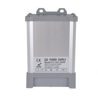 Outdoor Waterproof AC 110V/250V to DC 12V-8.3A-100W VoltageTransformer Switching Power Supply LED Control & Display