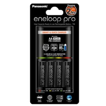 Panasonic K-KJ55HCD40E Smart and Quick Charger with Eneloop Pro AA Battery Set of 4