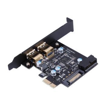 PCI-E to USB 3.0 2 Port PCI Express Expansion Card 19-Pin PowerConnector - intl