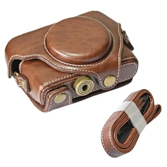 Portable PU Leather Camera Protector Case Protective Bag Cover withAdjustable Shoulder Strap for Sony DSC RX100M1 M2 M3 M4 M5 CamerasCoffee-color - intl