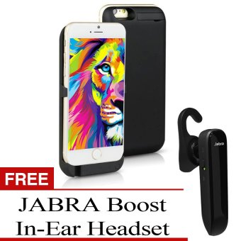 Power Case 3000mAh Portable Slim External Backup Battery ChargerCase with Viewing Stand for Apple iPhone 6/6S (Cosmic Black) withJABRA Boost In-Ear Headset (Black)