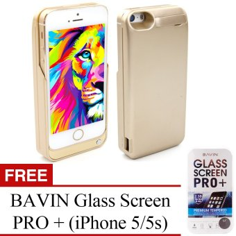 Power Case 4200Mah Portable Usb External Backup Battery ChargerCase With Viewing Stand For Apple Iphone 5/5S (Vegas Gold) WithFree Bavin Glass Screen Pro+