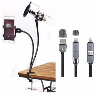 Professional Recording Microphone Suspension Flexible Arm StandHolder with 2 in 1 USB Cord Color May Vary