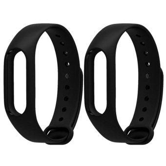 Replacement TPU Wrist Bands for Xiaomi MI Band 2 - Black (2 PCS) -intl