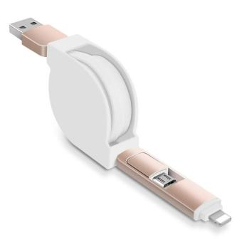 Retractable 2 in 1,Data Fast Charge Cable Dual USB to Apple Lightning port or Android Micro USB
