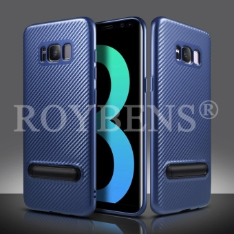 ROYBENS Shockproof Carbon Fiber Soft Stand Full Protect Case Cover For Samsung Galaxy S7 edge Blue