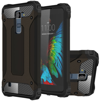 RUILEAN Heavy Duty Armor Dual Layer Hybrid Shock Absorbing TPU PC Protective Case Cover for LG K10 (Black)